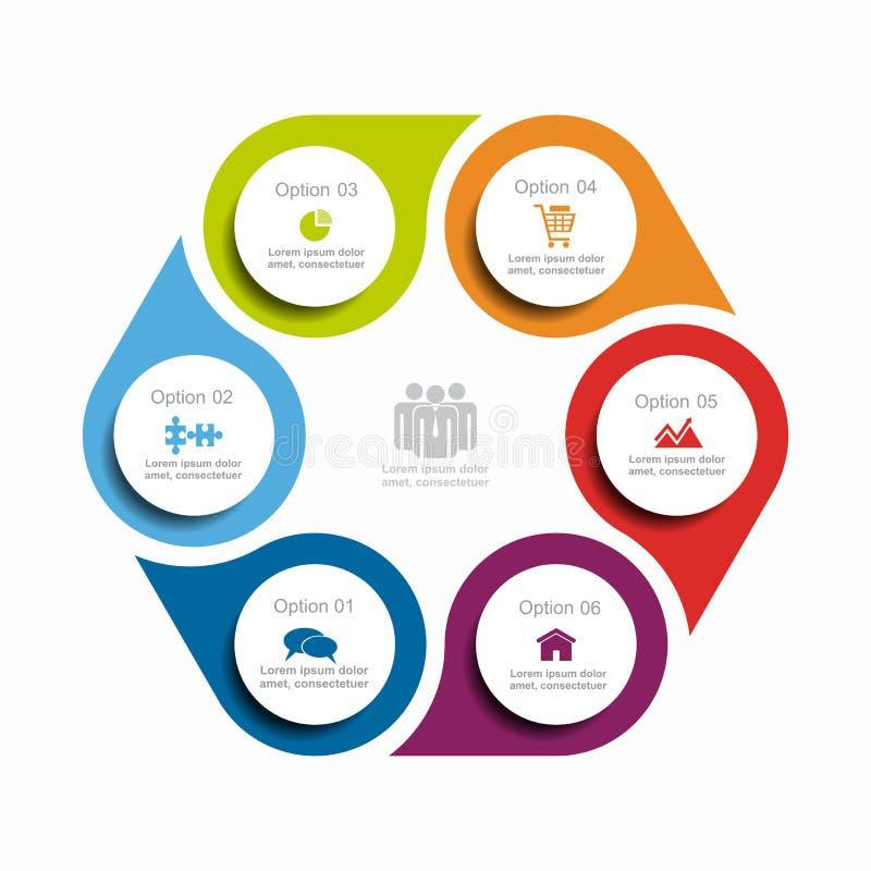 Infographic Schablone Auch im corel abgehobenen Betrag Kann für Arbeitsflussplan, Diagramm, Geschäftsschrittwahlen, Fahne verwend stock abbildung