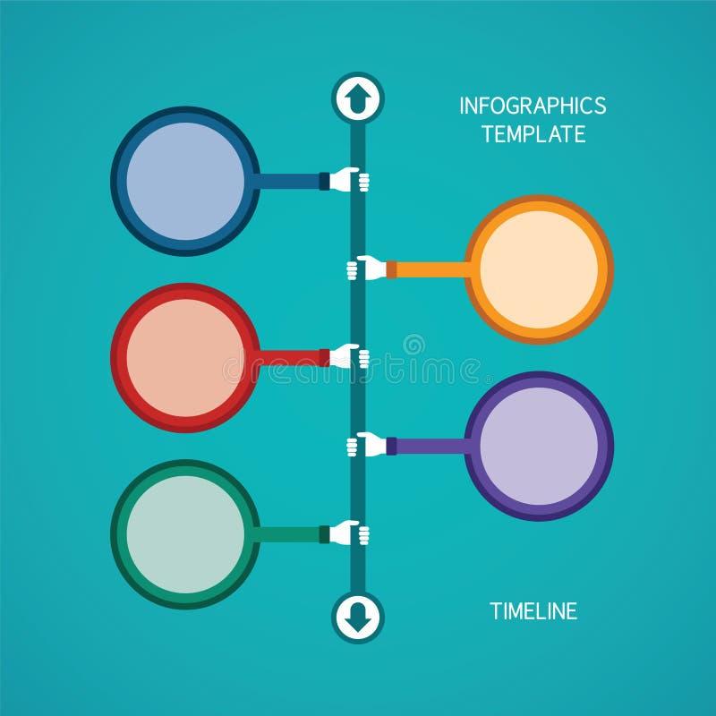 Infographic Schablone der abstrakten Vektorzeitachse in der flachen Art für Planarbeitsflussentwurf, nummeriert Wahlen, Diagramm  vektor abbildung