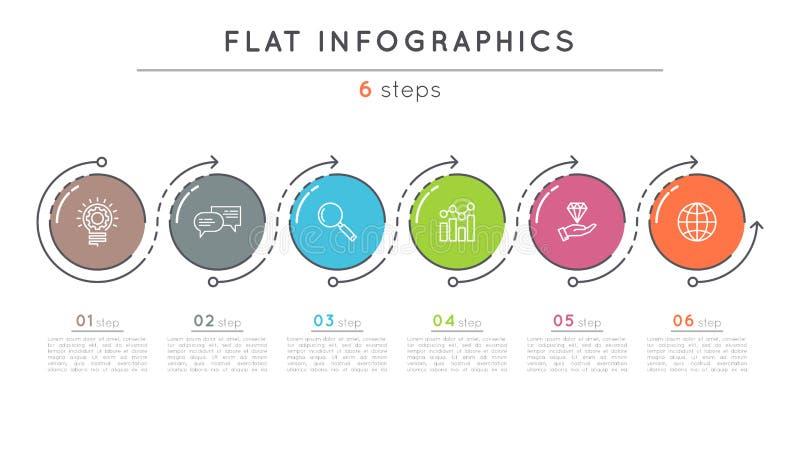 Infographic Schablone der flachen Schritt-Zeitachse der Art 6 stock abbildung