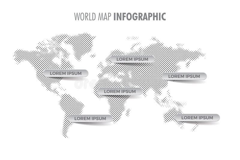 Infographic Schablone der hellen Halbtonweltkarte stock abbildung