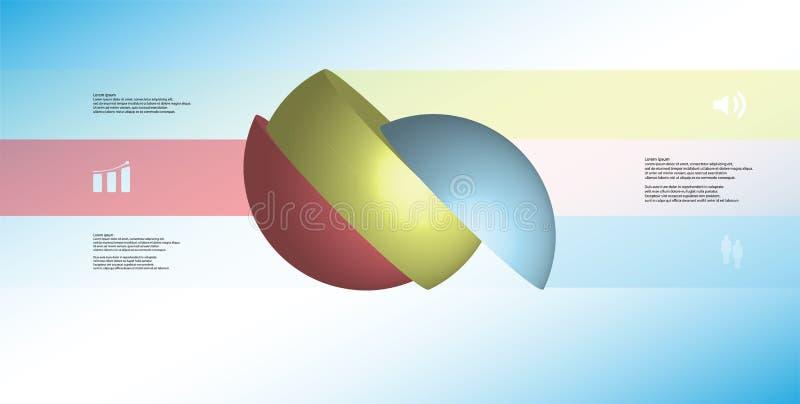 infographic Schablone der Illustration 3D mit dem Ball, der zu drei Teilen geschnitten wurde, drehte sich, um mit Seiten zu verse stock abbildung