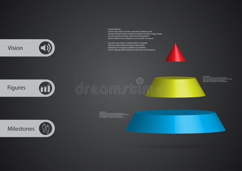 infographic Schablone der Illustration 3D mit dem Dreieck horizontal geteilt zu drei Farbscheiben stock abbildung
