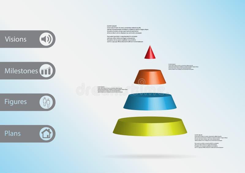 infographic Schablone der Illustration 3D mit dem Dreieck horizontal geteilt zu vier Farbscheiben vektor abbildung