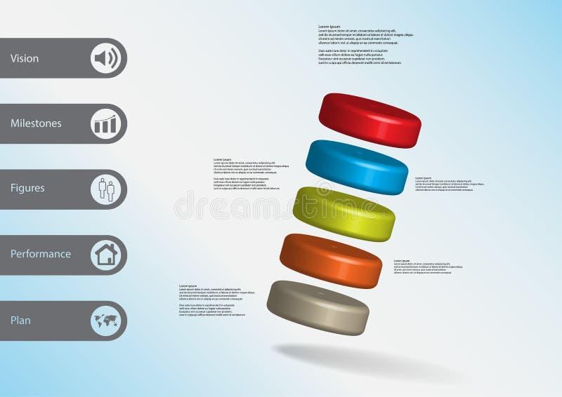 infographic Schablone der Illustration 3D mit fünf Zylindern seitwärts vereinbart vektor abbildung