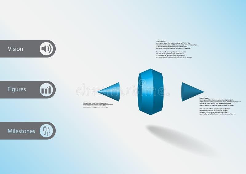 infographic Schablone der Illustration 3D mit zwei nagelte den Kegel fest, der vertikal zu drei Teilen geteilt wurde vektor abbildung