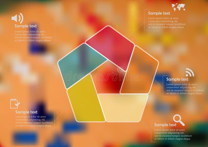 Infographic Schablone der Illustration mit dem Farbpentagon geteilt zu fünf Teilen lizenzfreie abbildung