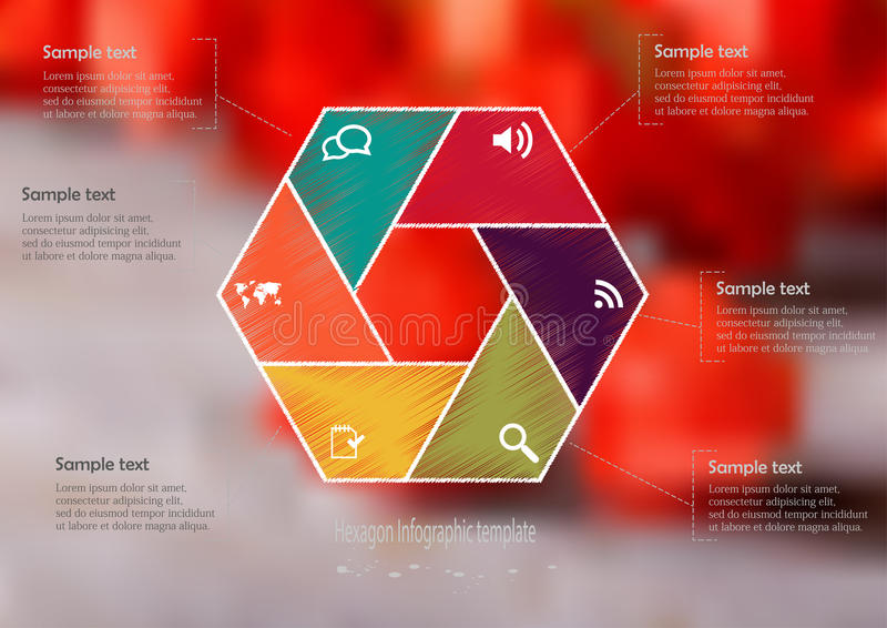 Infographic Schablone der Illustration mit dem Hexagon geteilt zu sechs Teilen vektor abbildung