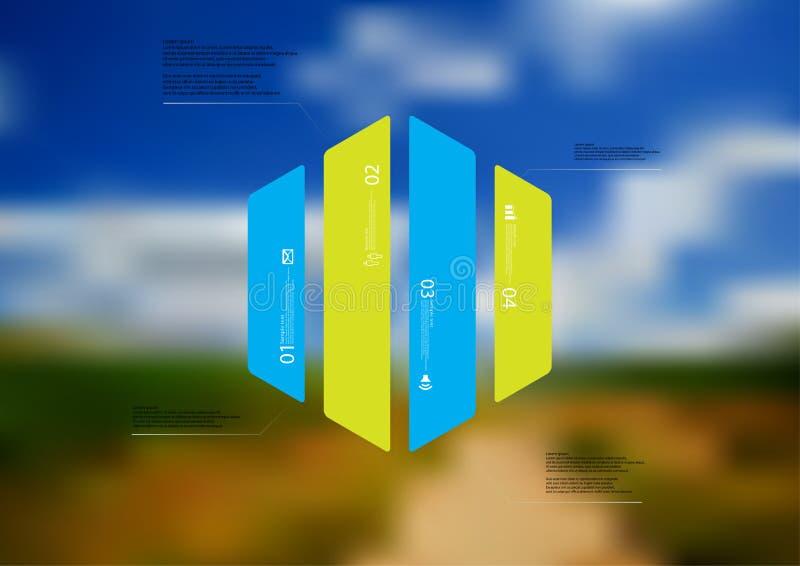 Infographic Schablone der Illustration mit dem Hexagon vertikal geteilt zu vier Farbteilen stock abbildung