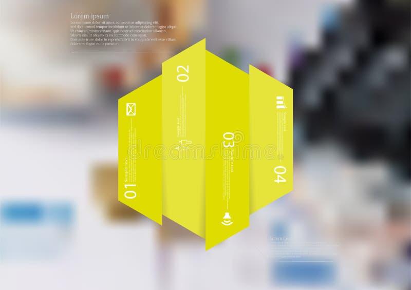 Infographic Schablone der Illustration mit dem Hexagon vertikal geteilt zu vier grünen Teilen lizenzfreie abbildung