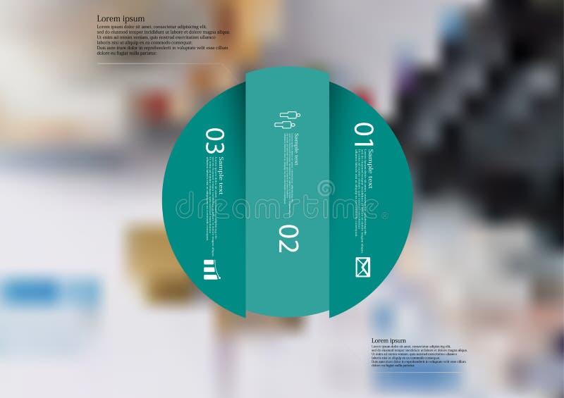 Infographic Schablone der Illustration mit dem Kreis vertikal geteilt zu drei grünen Teilen lizenzfreie abbildung