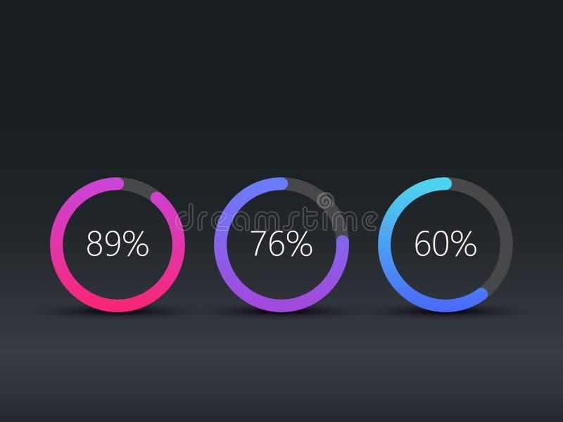 Infographic Schablone der Kreisdiagramme, Arbeitsfluß, Webdesign, UI-Elemente ENV 10 vektor abbildung