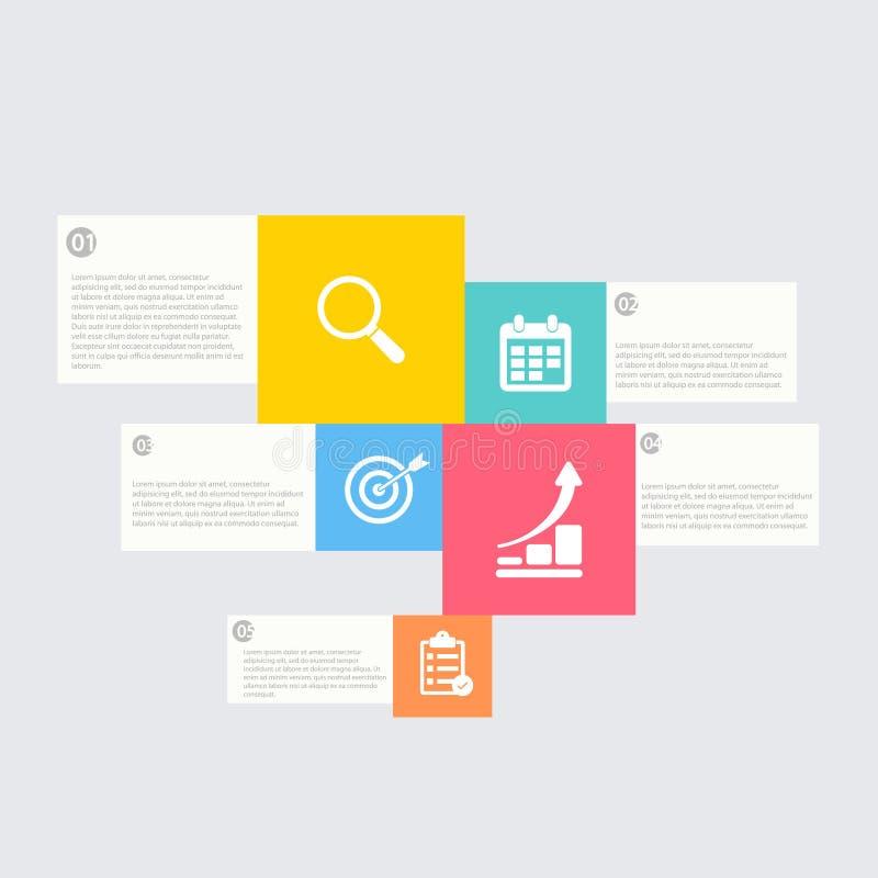 Infographic Schablone der minimalen Art des modernen Designs kann für infographics nummerierte horizontale Ausschnitt Pseudografi stock abbildung