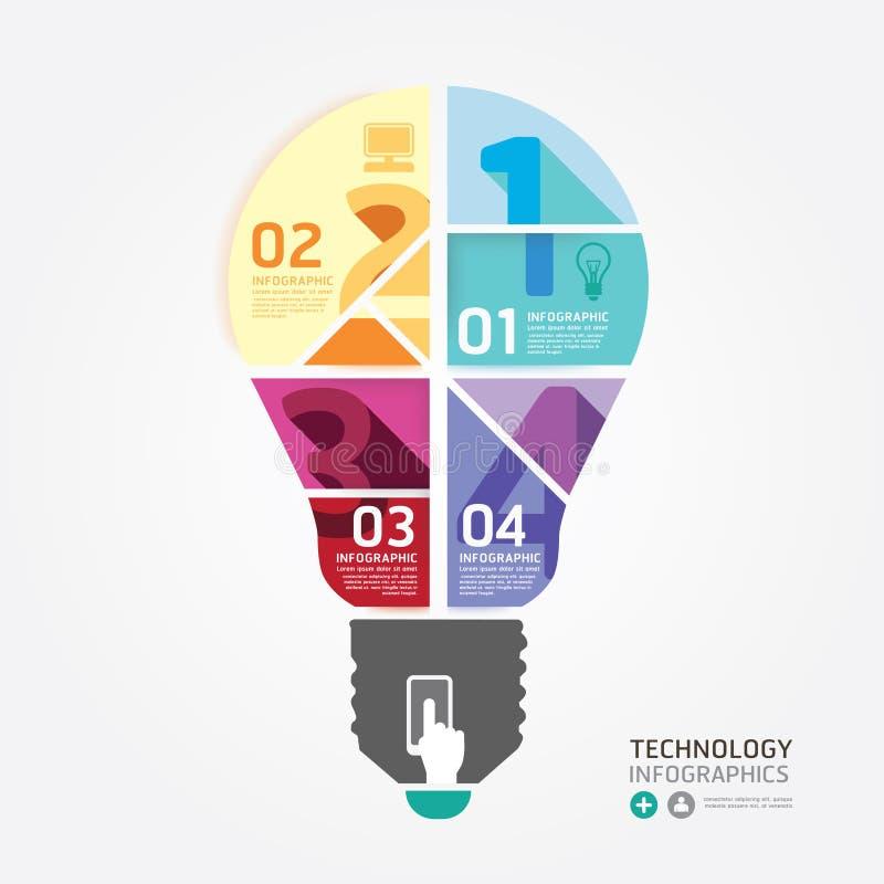 Infographic Schablone der minimalen Art des modernen Designs mit Glühlampe stock abbildung