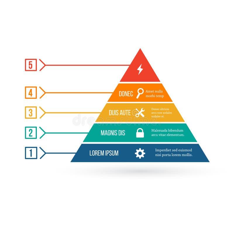 Infographic Schablone der Pyramide mit fünf Elementen, Schablone für Diagramm-, Diagramm-, Darstellungs- und Dreieckdiagramm Die  lizenzfreie abbildung
