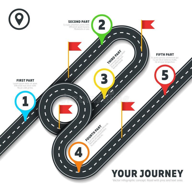 Infographic Schablone der ReiseStraßenkarte-Geschäftsvektor-Kartographie mit Stiften und Flaggen lizenzfreie abbildung