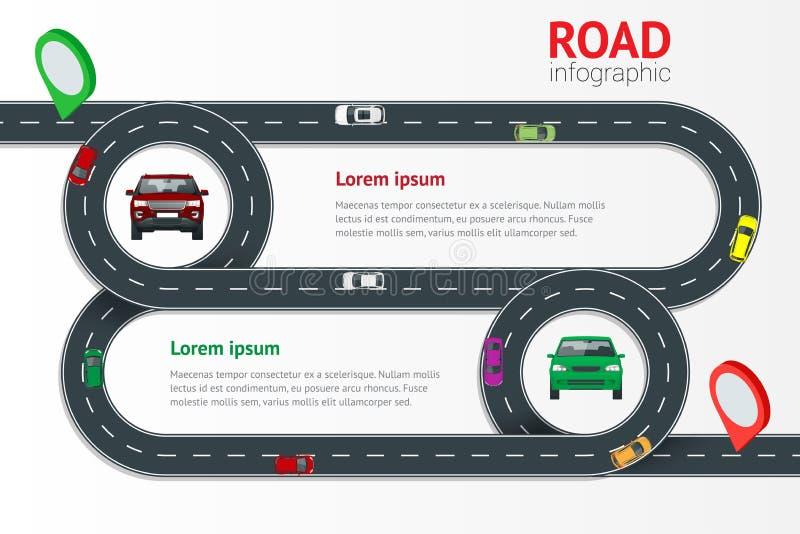 Infographic Schablone der Straße mit bunter Stiftzeiger-Vektorillustration Bewegliche Autos auf Straße, Draufsicht Weg und Reise stock abbildung