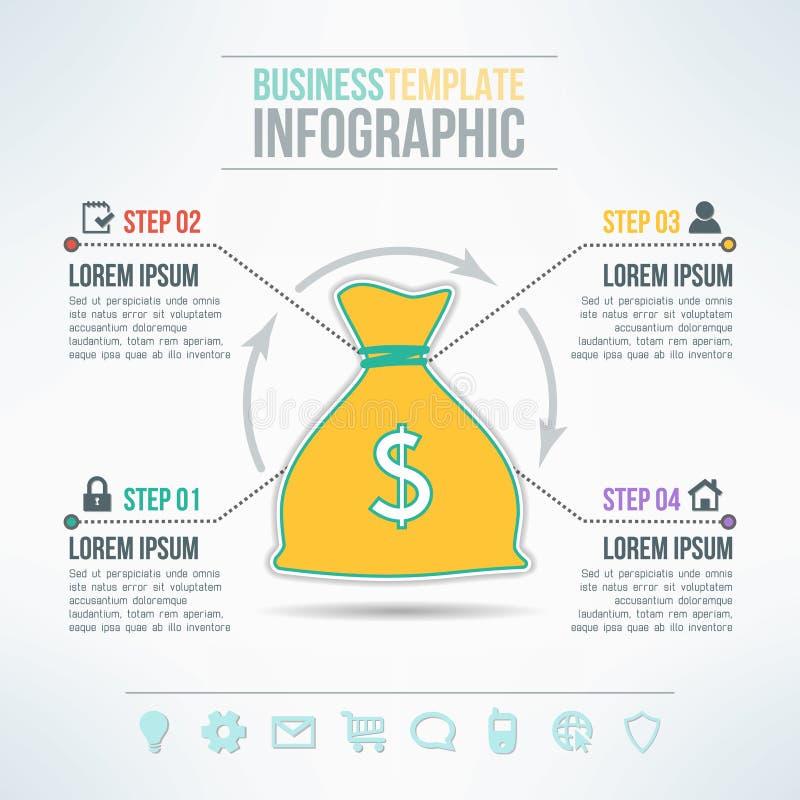 Infographic Schablone der Vektorgeld-Tasche mit Ikonen lizenzfreie abbildung
