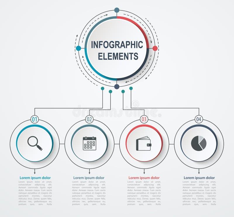 Infographic Schablone des Darstellungsgeschäfts mit 4 Wahlen Geschäftskonzept mit integrierten Kreisen stock abbildung