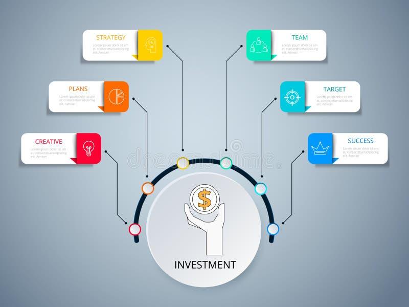 Infographic Schablone des erfolgreichen Geschäftskonzept-Kreises Infographics mit Ikonen und Elementen vektor abbildung