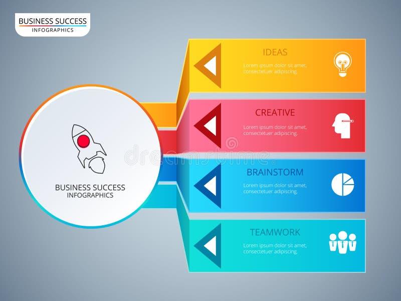 Infographic Schablone des erfolgreichen Geschäftskonzept-Kreises Infographics mit Ikonen und Elementen stock abbildung