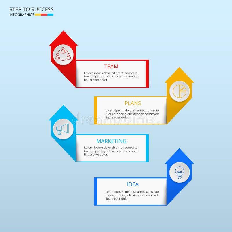 Infographic Schablone des erfolgreichen Geschäftskonzeptes Infographics mit Ikonen und Elementen kann für Arbeitsflussplan, Diagr lizenzfreie abbildung