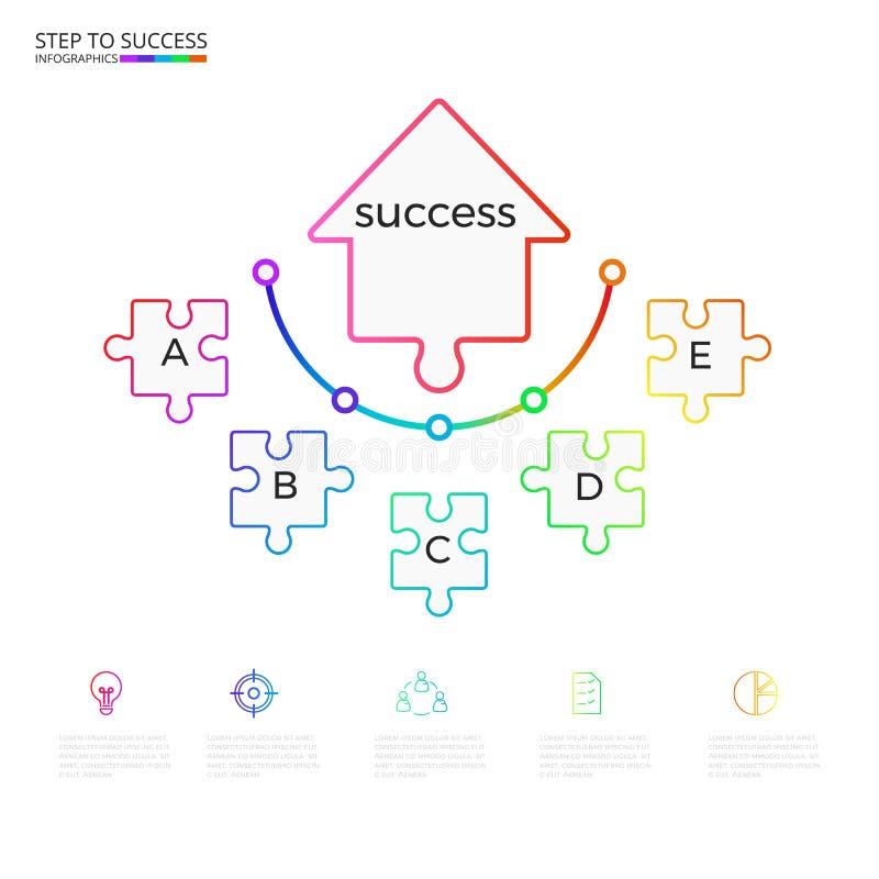 Infographic Schablone des erfolgreichen Geschäftskonzeptpfeil-Puzzlespiels Infographics mit Ikonen und Elementen lizenzfreie abbildung