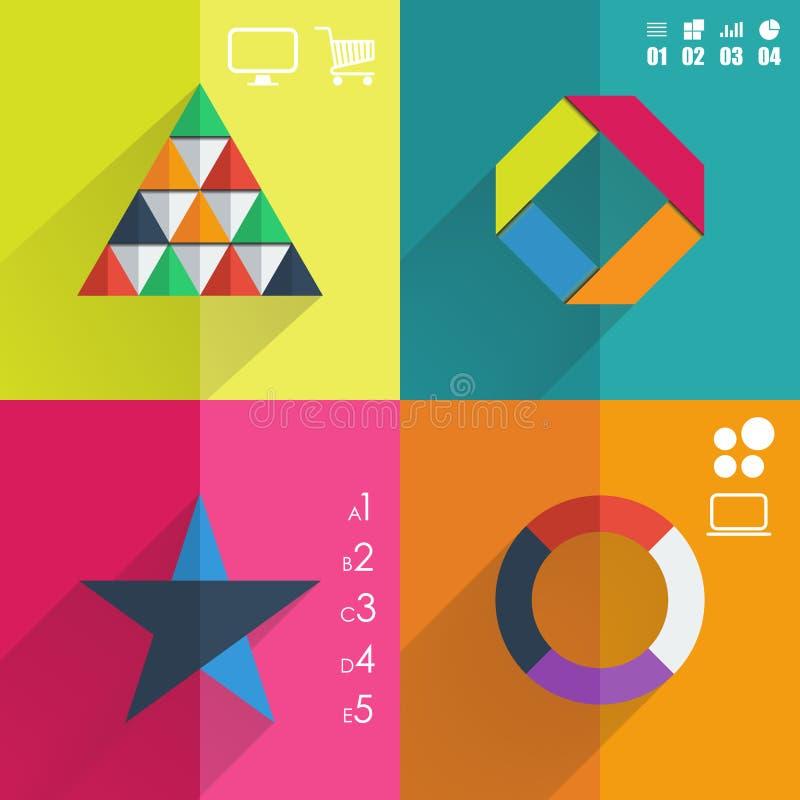 Infographic Schablone des flachen Designs für Fahnen, Geschäftshintergründe, presenations lizenzfreie abbildung
