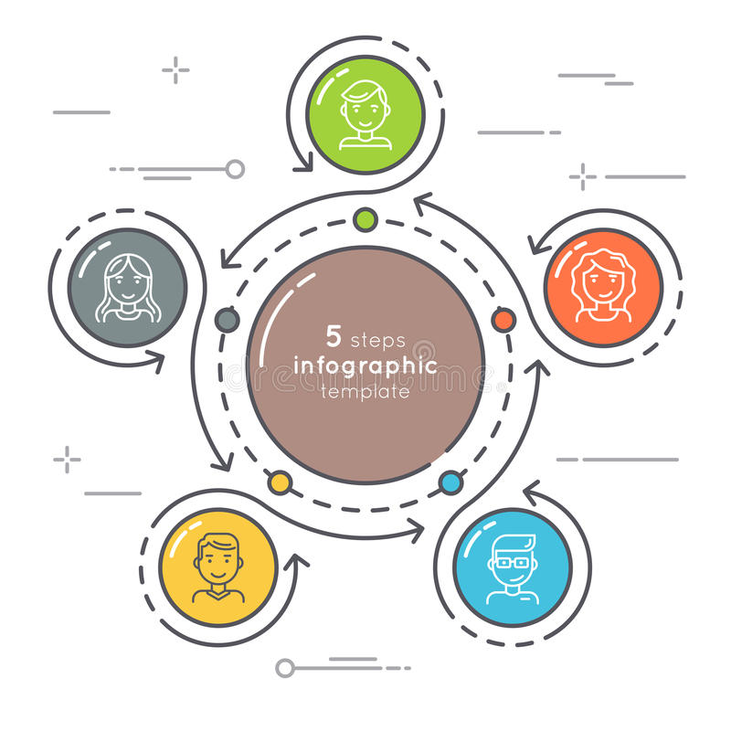 Infographic Schablone des flachen Schritt-Kreises der Art 5 Dünne Linie busine stock abbildung