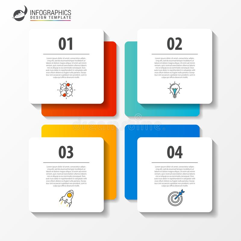 Infographic Schablone des Geschäfts mit 4 Schritten quadrat Vektor lizenzfreie abbildung