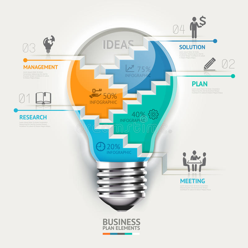 Infographic Schablone des Geschäftskonzeptes Glühlampe s vektor abbildung