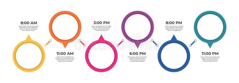 Infographic Schablone des Gesch?fts Zeitachsekonzept mit 6 Schritten für Darstellung, Bericht, infographic und Geschäft stock abbildung