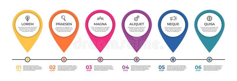 Infographic Schablone des Gesch?fts Zeitachsekonzept mit 6 Schritten f?r Darstellung, Bericht, infographic und kommerzielle Daten lizenzfreie abbildung