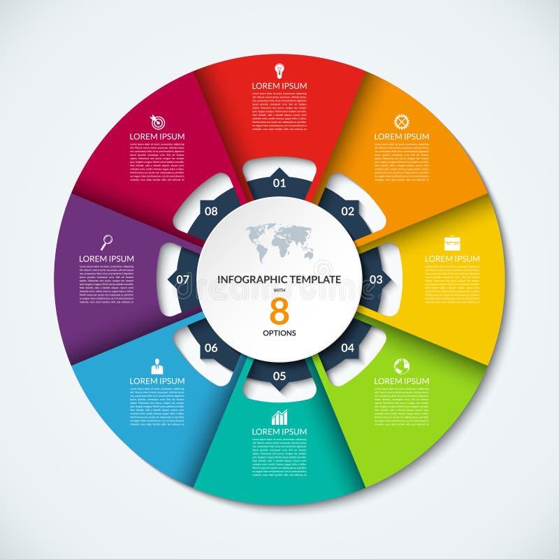 Infographic Schablone des Kreises Vektorplan mit 8 Wahlen stock abbildung