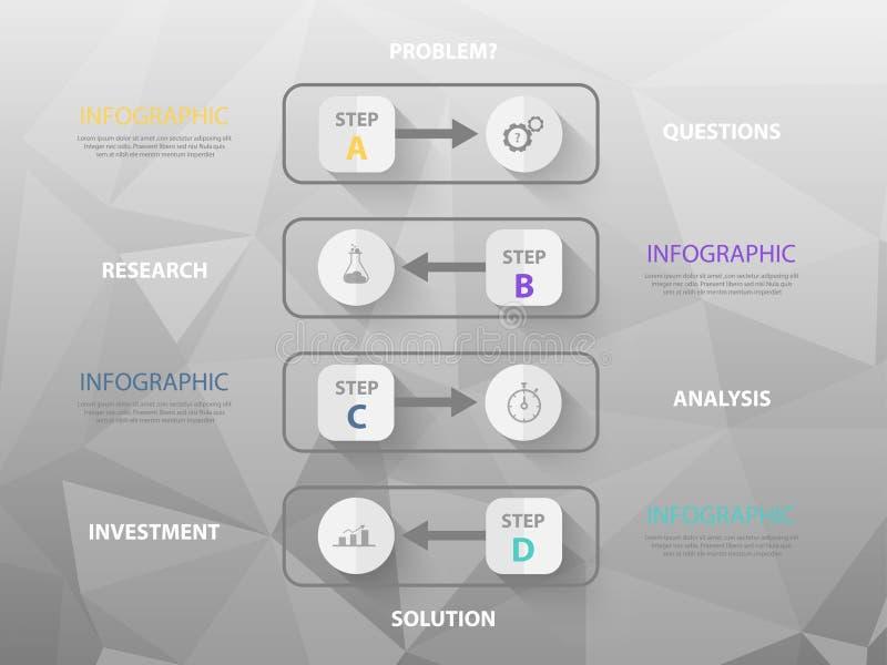Infographic Schablone des modernen Geschäfts, bunte Ikonen, lizenzfreie abbildung