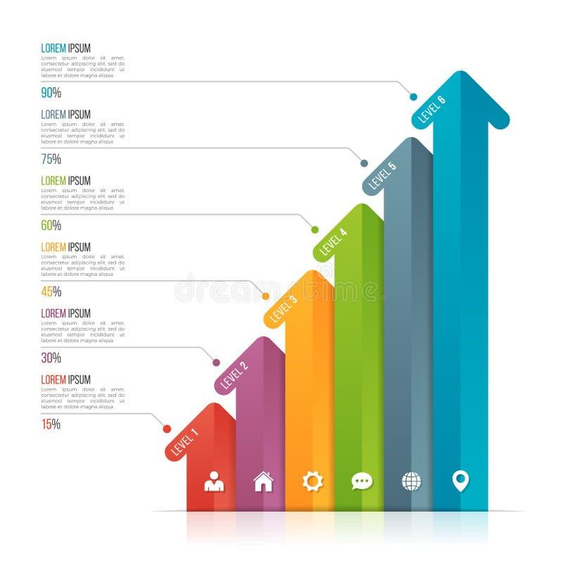 Infographic Schablone des Pfeiles für Datensichtbarmachung 6 Wahlen stock abbildung