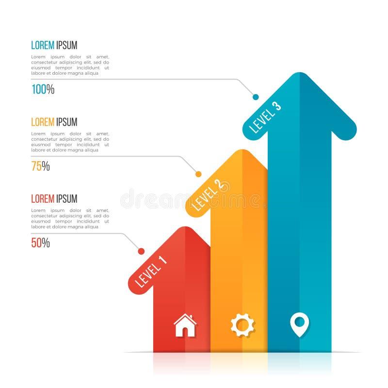 Infographic Schablone des Pfeiles für Datensichtbarmachung 3 Wahlen lizenzfreie abbildung