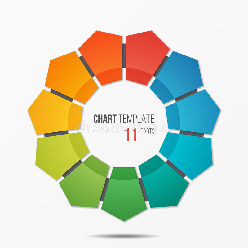 Infographic Schablone des polygonalen Kreisdiagramms mit 11 Teilen stock abbildung
