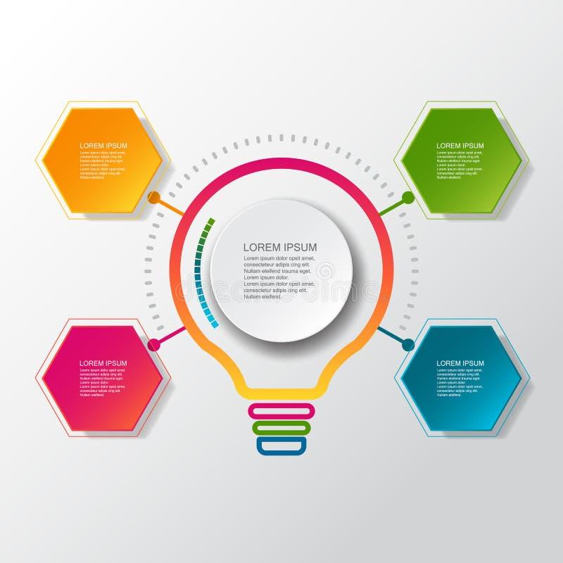 Infographic Schablone des Vektors mit Aufkleber des Papiers 3D, integrierte Kreise Kann für Arbeitsflussplan, Diagramm, Ideengesc vektor abbildung