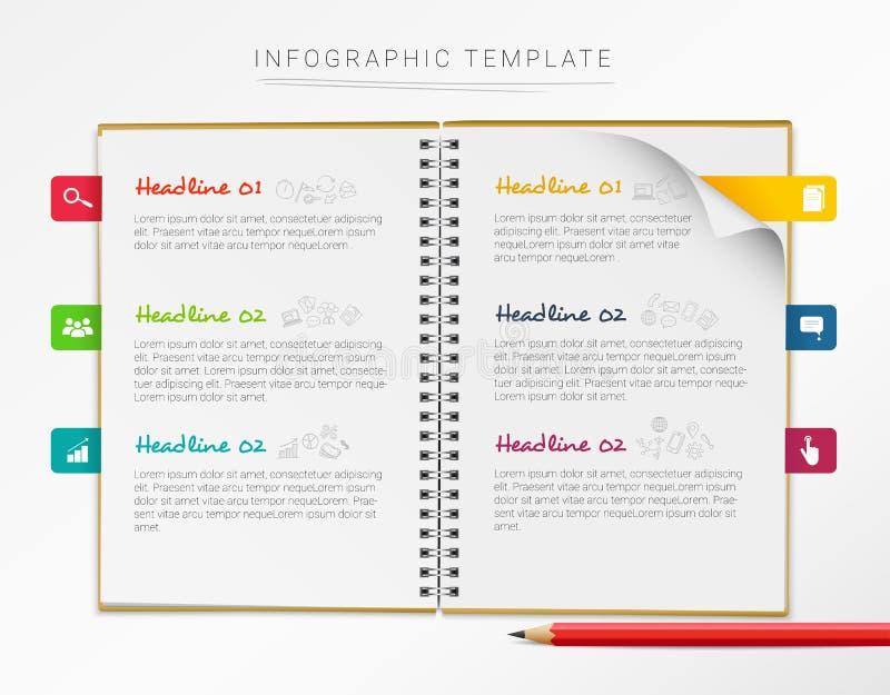 Infographic Schablone des Vektors mit dem Notizbuch und sechs bunten Kennzeichen lokalisiert auf weißem Hintergrund vektor abbildung