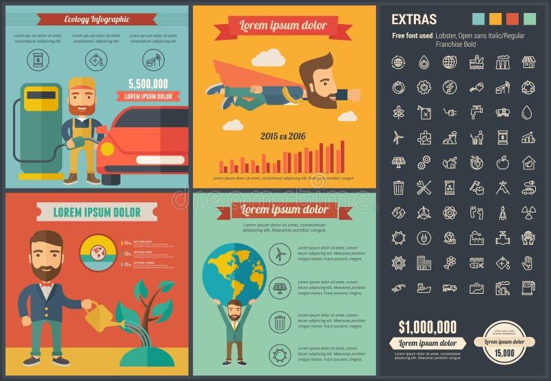 Infographic-Schablone Design der Ökologie flache lizenzfreie abbildung