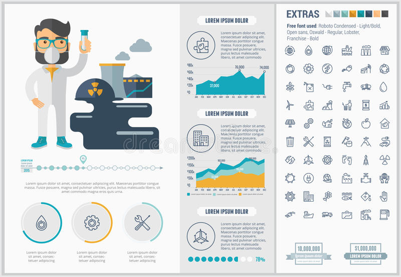 Infographic-Schablone Design der Ökologie flache vektor abbildung