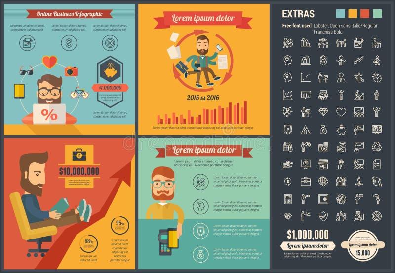 Infographic-Schablone Design des on-line-Geschäfts flache lizenzfreie abbildung