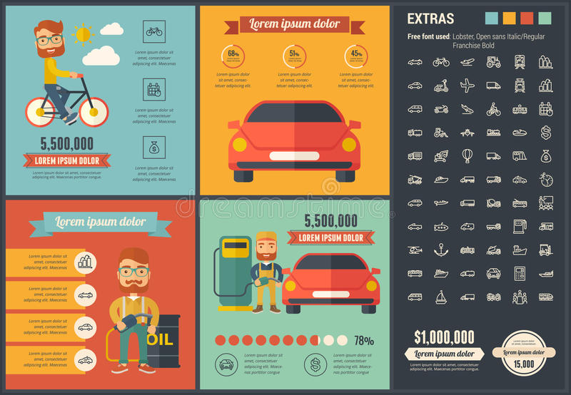Infographic-Schablone Design des Transportes flache stock abbildung