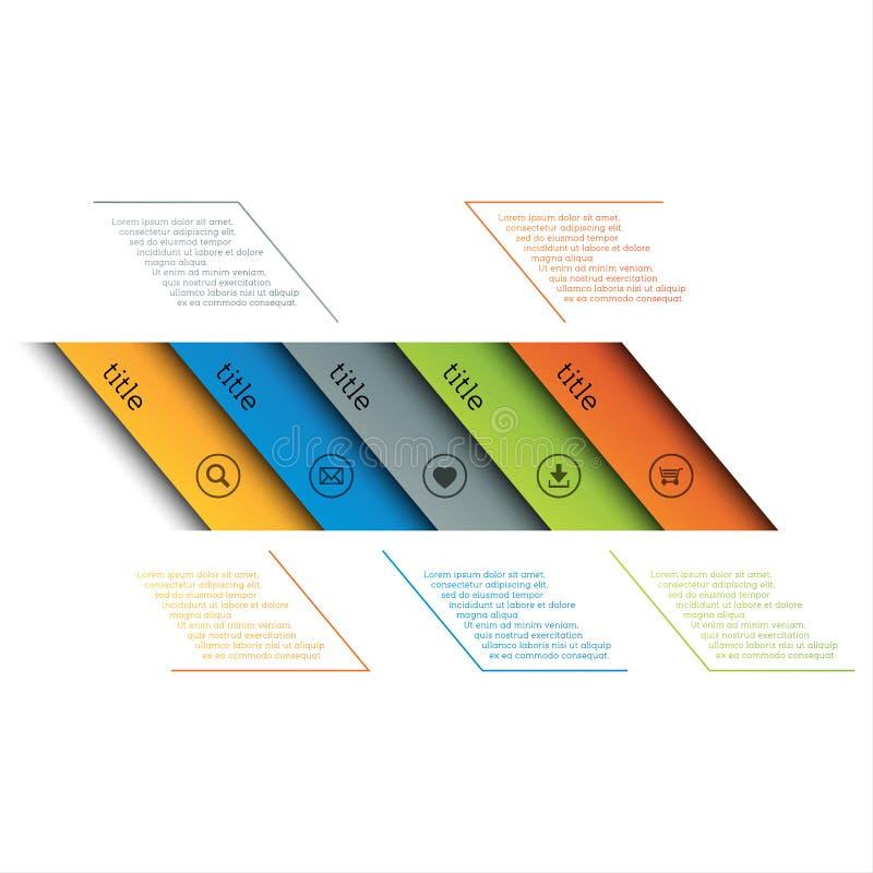 Infographic-Schablone, einfache Zeitachse mit Ikonen, Webdesign, Fahnen, Anwendungen, Elemente lizenzfreie abbildung