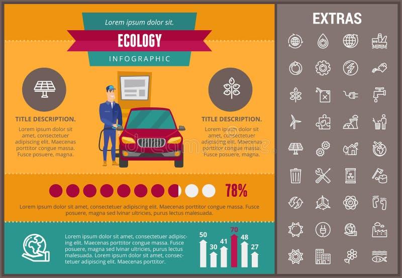 Infographic Schablone, Elemente und Ikonen der Ökologie vektor abbildung