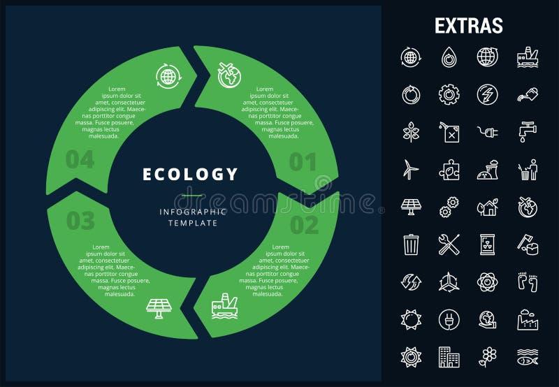 Infographic Schablone, Elemente und Ikonen der Ökologie lizenzfreie abbildung