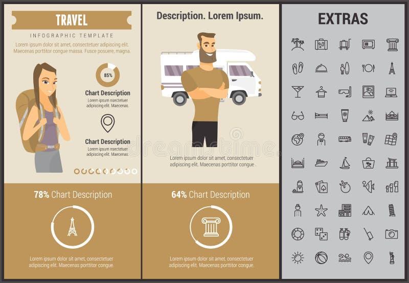 Infographic Schablone, Elemente und Ikonen der Reise stock abbildung