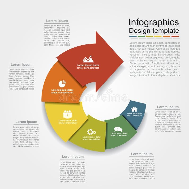 Infographic Schablone kann für Arbeitsflussplan, Diagramm, Geschäftsschrittwahlen, Fahne, Webdesign verwendet werden stock abbildung