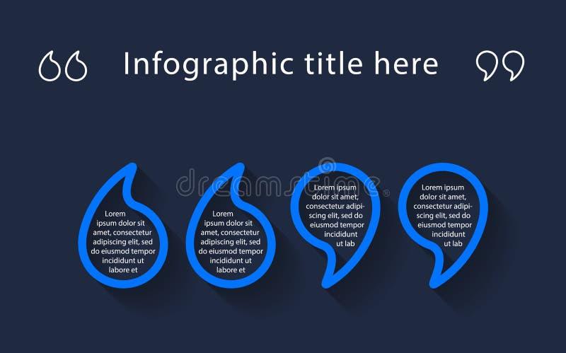 Infographic-Schablone mit Anführungszeichen lizenzfreie abbildung