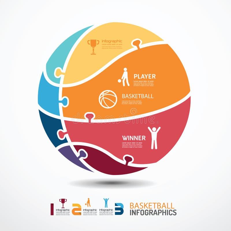 Infographic-Schablone mit Basketballlaubsägenfahne lizenzfreie abbildung